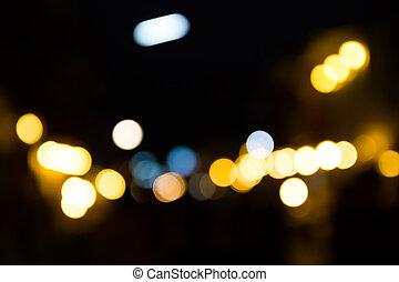 bokeh, rua, abstratos, luz