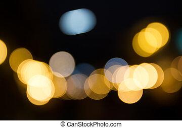 bokeh, rue, résumé, lumière