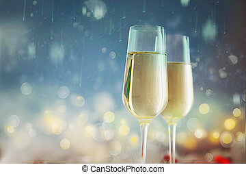 Bokeh shiny abstract background Champagne. New Year background