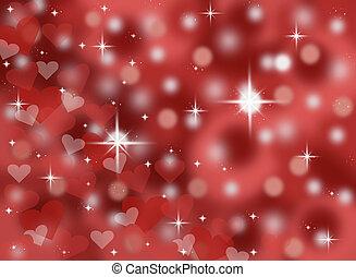bokeh, valentines, arrière-plan rouge
