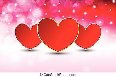 bokeh, vecteur, jour, fond, valentine