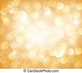 bokeh, vektor, solfyldt, gul baggrund