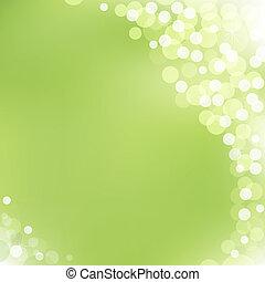 bokeh, vettore, sfondo verde