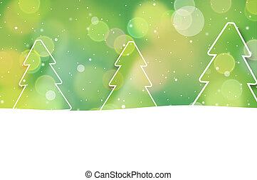 bokeh, weihnachten, grüne bäume, design, hintergrund, grafik