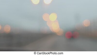 bokeh while driving. blurred street lights