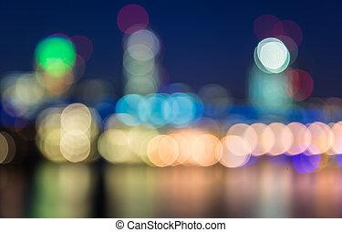 Boken background city skyline light