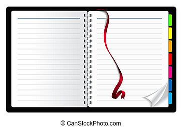 bokmärke, band, sida, papper, ringla, anteckningsbok