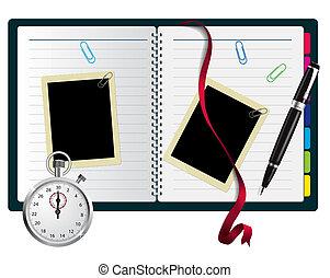 bokmärke, gemmar, anteckningsbok, stoppur