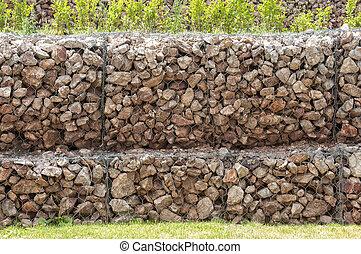 boks, ściana, gabion, drut, filet