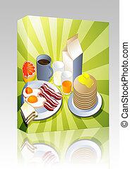 boks, śniadanie, zupełny, pakunek
