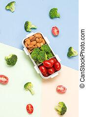 boks, błękitny, background;, płaski, zdrowy, ułożyć, mieszany, lunch, jadło, lato, owoce, prospekt, górny, concept:, pieśń