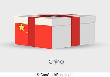 boks, bandera, porcelana, dar