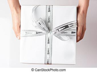 boks, biały, dar, dzierżawa wręcza