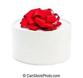 boks, biały, okrągły, czerwony łuk