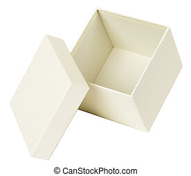 boks, biały, otwarty
