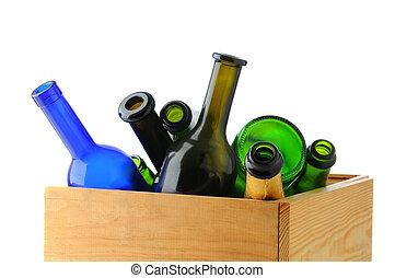 boks, butelki, opróżniać, wino