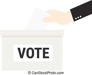 boks, concept., ręka, papier, kładzenie, biznesmen, głosowanie, balotowanie