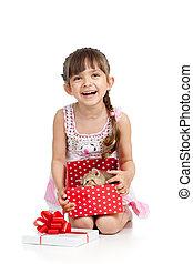 boks, dar, kociątko, dzierżawa dziecko, dziewczyna, szczęśliwy