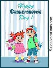 boks, dar, wnuki, ilustracja, wektor, dziadunio, babunia, kwiaty, rysunek