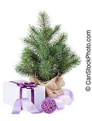 boks, dekoracje, dar, drzewo, mały, boże narodzenie