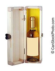 boks, drewniany, butelka, wino