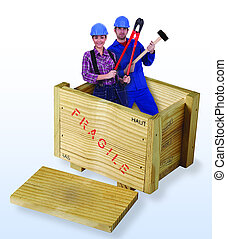 boks, drewniany, pracownicy, zbudowanie, samica, samiec