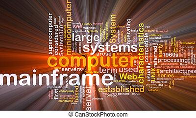 boks, duży komputer, słowo, chmura, pakunek
