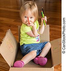 boks, dziewczyna niemowlęcia, młody, posiedzenie