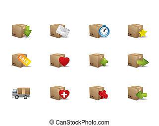 boks, e-handel, ikony