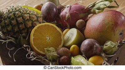 boks, egzotyczny, uhd, drewniany, ruch, owoce, soczysty, ...
