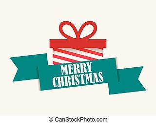 boks, elementy, card., dar, święto, powitanie, ilustracja, tło., wektor, wesoły, boże narodzenie., biały, chorągiew, wstążka