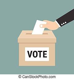 boks, eps10, pojęcie, ręka, papier, wektor, biznesmen, kładzenie, głosowanie, balotowanie