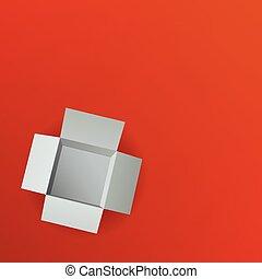 boks, górny, ilustracja, tło., wektor, prospekt., otwarty, czerwony