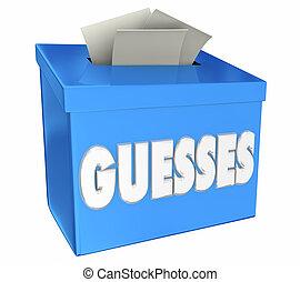boks, guesses, estimates, ilustracja, zbiór, propozycja,...
