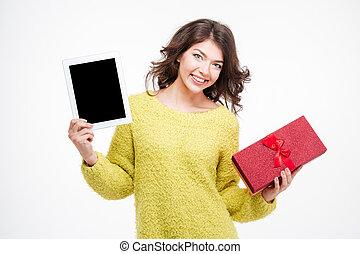 boks, kobieta, dar, tabliczka, pokaz, komputer, dzierżawa, okienko osłaniają