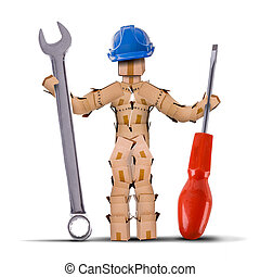 boks, litera, budowniczy, narzędzia, dzierżawa