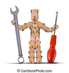 boks, litera, narzędzia, dzierżawa