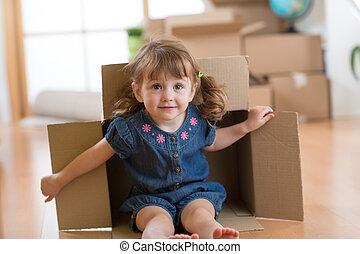 boks, mały, jej, posiedzenie, wnętrze, nowy dom, dziewczyna, tektura