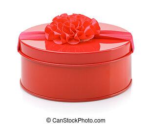 boks, metal, okrągły, dar, czerwony