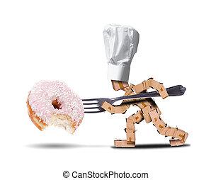 boks, mistrz kucharski, litera, wielki, donut, atakując