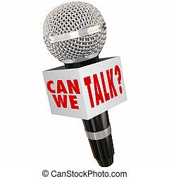 boks, my, sprzężenie zwrotne, mikrofon, może, wywiad, echo, rozmowa