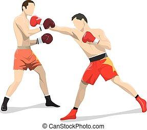 boks, odizolowany, fighting.