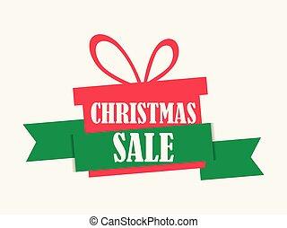 boks, ogłoszenia, dar, świąteczny, afisz, sprzedaż, offer., tło., wektor, ilustracja, biały, chorągiew, boże narodzenie, szczególny, design.
