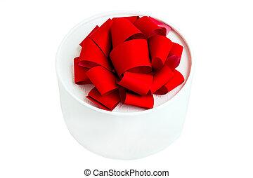 boks, okrągły, czerwony łuk