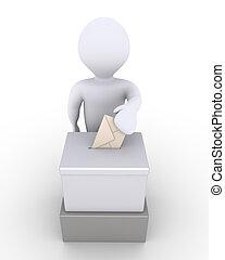boks, osoba, głosowanie, balotowanie, przed