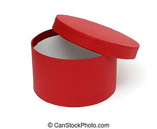 boks otwarty, okrągły, czerwony