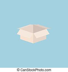 boks, otworzony, eps10., ilustracja, wektor, tektura, opróżniać