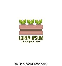 boks, płaski, ogród, ilustracja, wektor, roślina, logo, ...