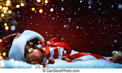 boks, piłki, dar, claus, śnieg, torba, święty, boże narodzenie, czerwony