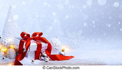 boks, piłki, sztuka, dar, śnieg, boże narodzenie